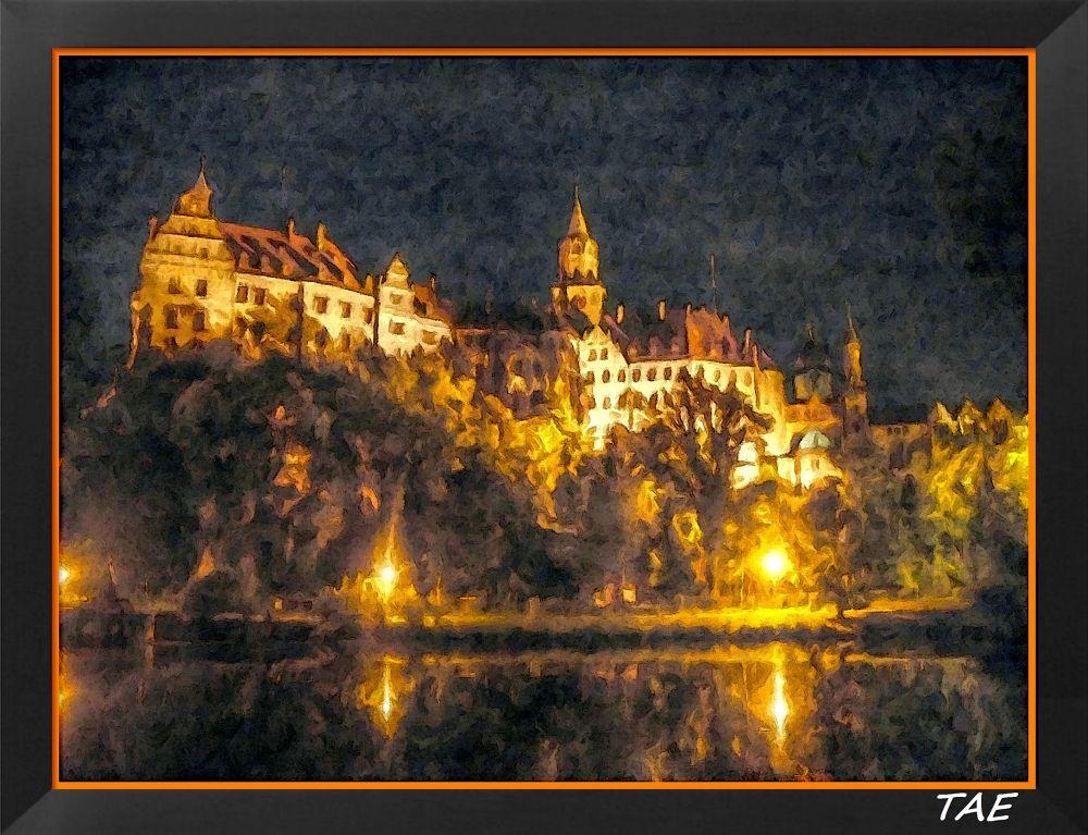 Photo in Random #art #oil #painting #castle #river #light #night #germany #fine #canvas #hohenzollern #siegmaringen