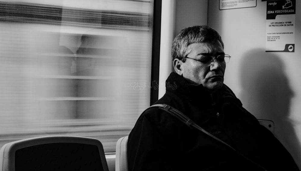 Photo in Black and White #man #light #train #portrait #shadow #black and white