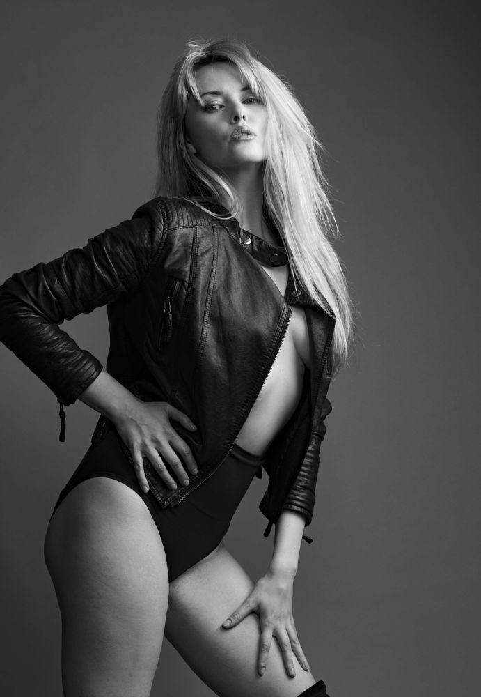 Photo in Portrait #leather jacket #implied nude #beautiful blond #model #b&w #black and  white #studio #pretty #wide open #eyes #pout #the look