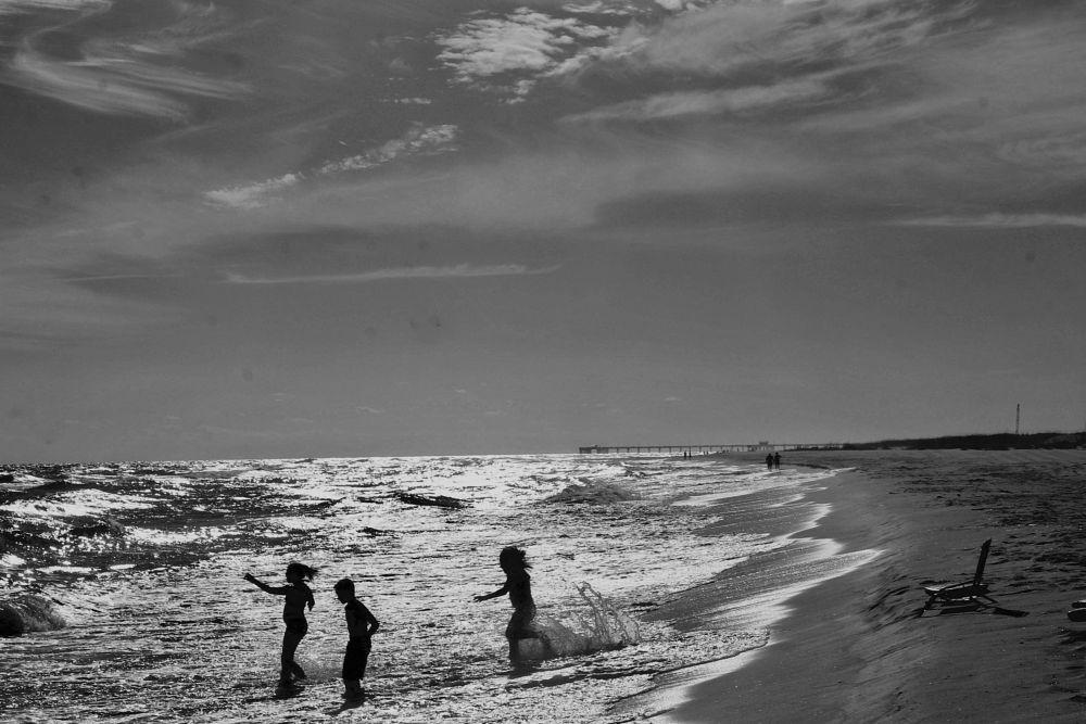 Photo in Black and White #beach #beaches #ocean #candid #kids #children #okay #sunny #sun #summer #action #florida