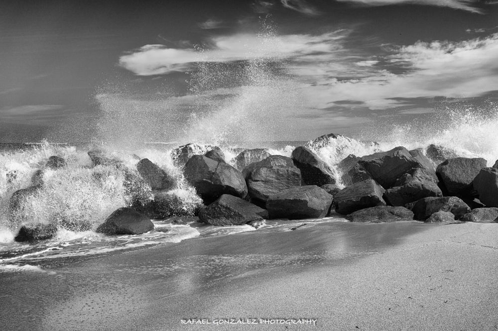 Photo in Black and White #sea #b&w #sand #sky #tropics #ocean #florida #beach #weather