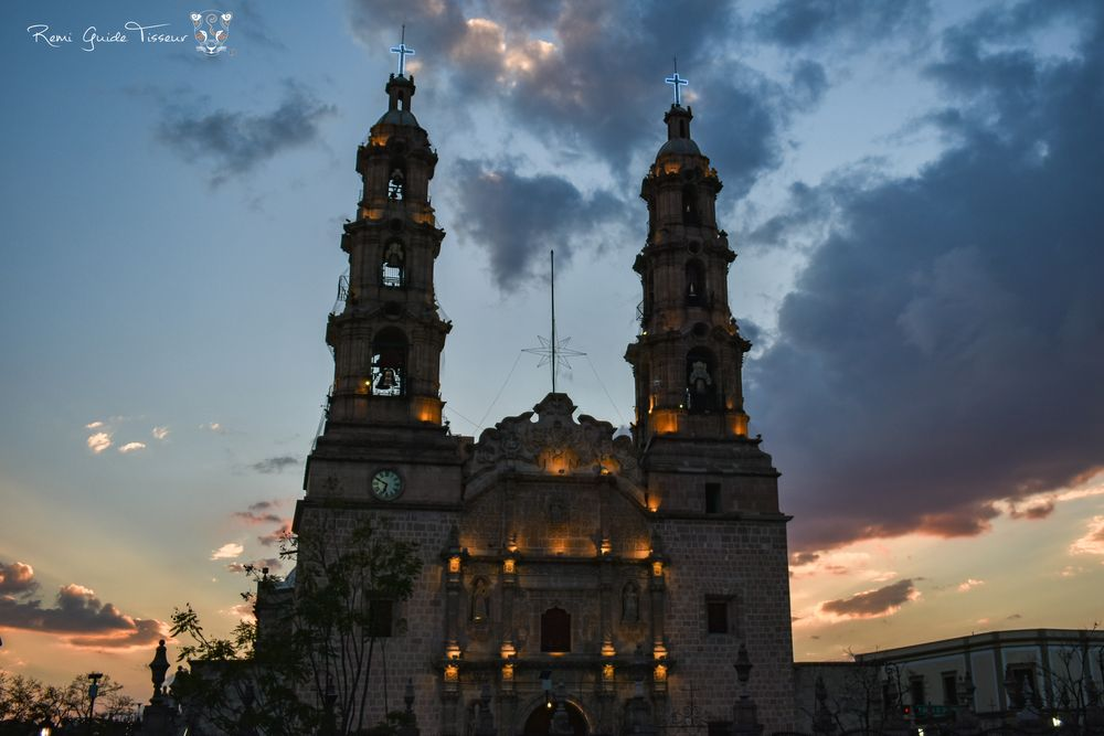 Photo in Random #mexico #aguascalientes #cathedral #church #architecture #sunset #lights #clouds #travel #photographer