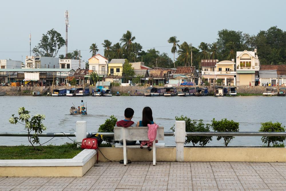 Photo in Travel #friends #vietnam #river #couple #friends fjeril #evening #relax #city #boat