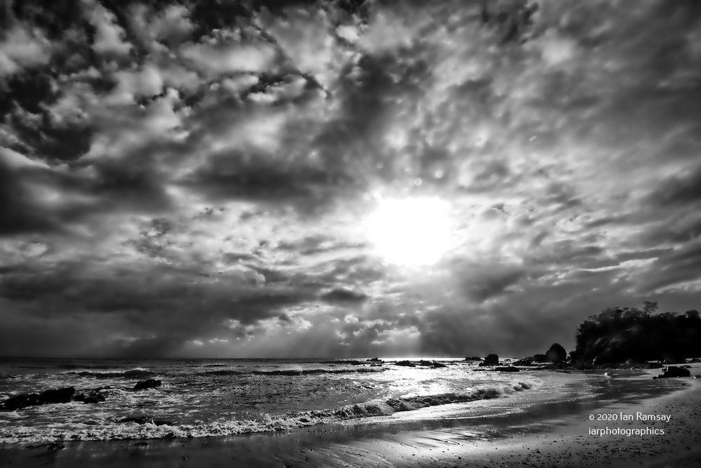 Photo in Black and White #flynns beach. port macquarie  #australia #monochrome #storm #sea #ocean #clouds #waves #sky #rocks #sand