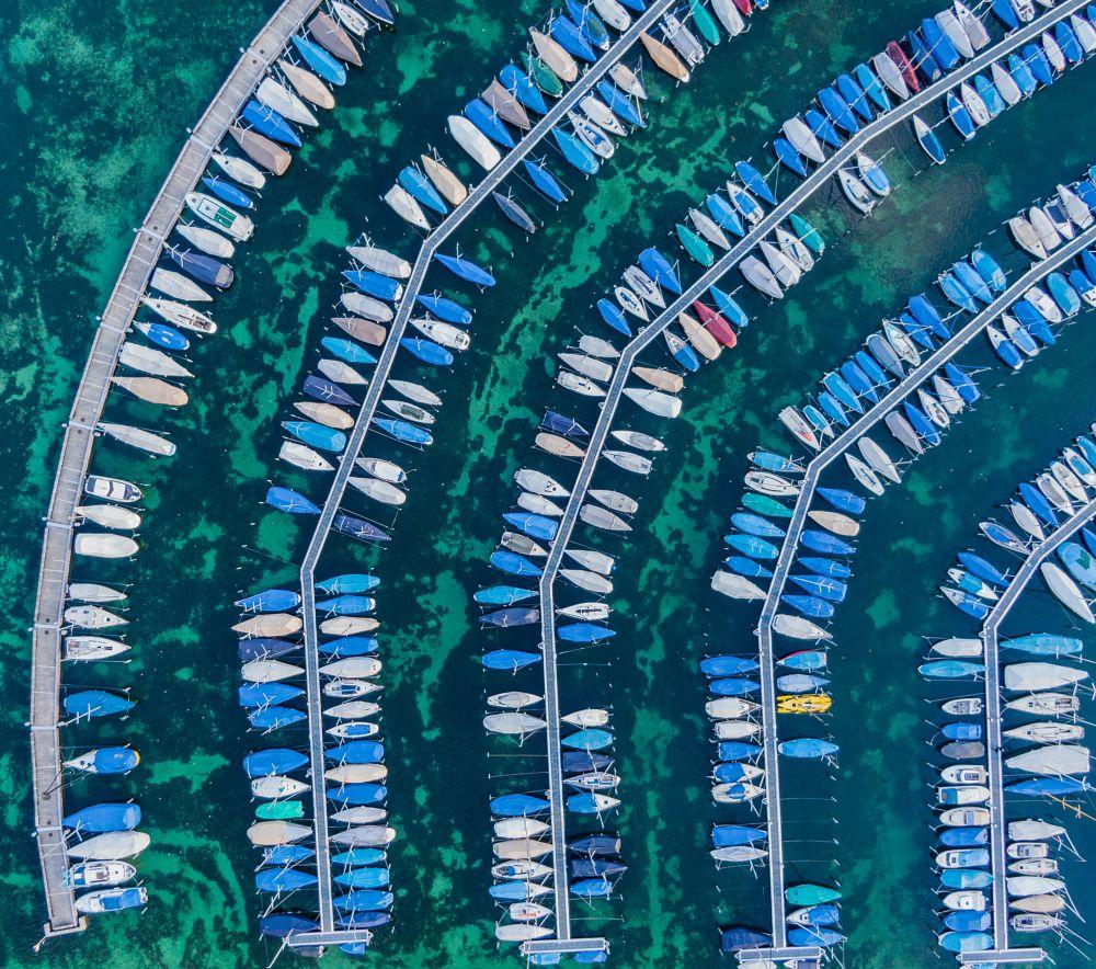 Photo in Random #drone #boats #lake #blue #water #switzerland #luzern #order