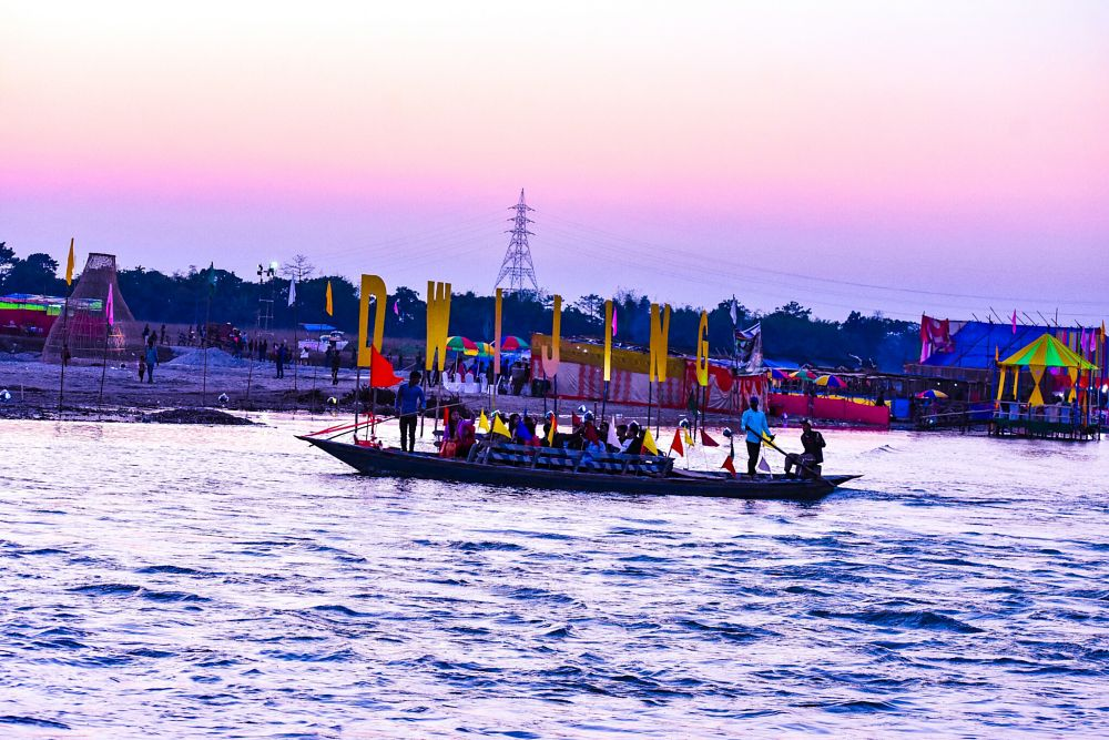Photo in Travel #boat #river #water #people #festival #assam #india #joy #boating #evining #tower