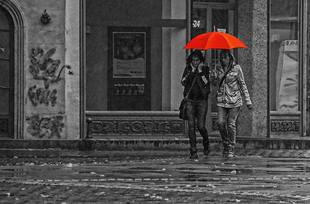 Photo in Random #ladys #rain #umbrella #subotica #serbia #effect #city