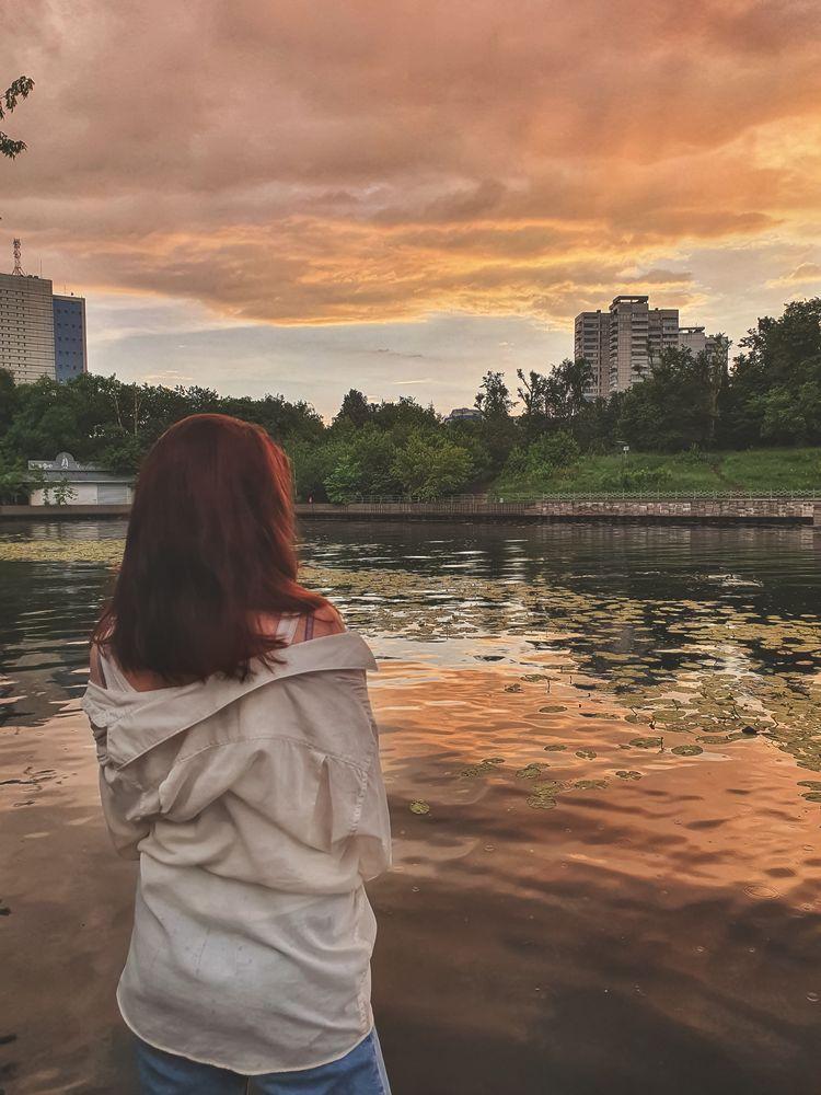 Photo in Random #russia #moscow #samsung #sun #sunset #water #girl #portrait