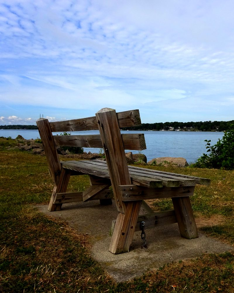 Photo in Still Life #park #bench #water #river #bank #shore