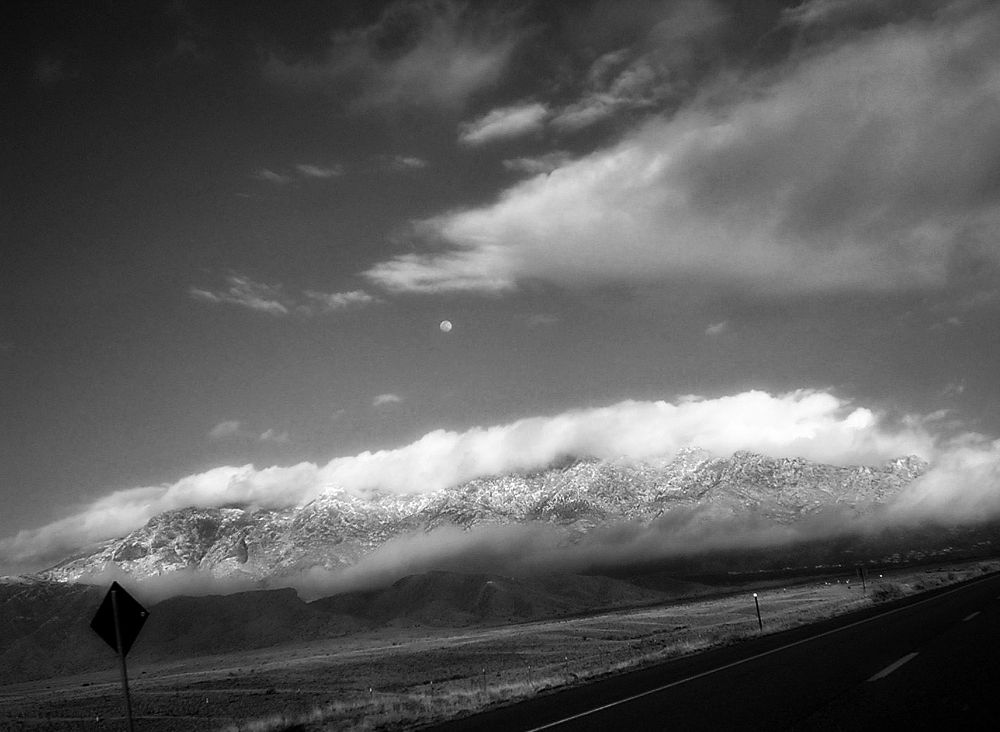 Photo in Random #monochrome #new mexico #interstate #travel #road trip #wanderlust #mountains #jemez #clouds #sky #dramatic #view #landscape #nikon