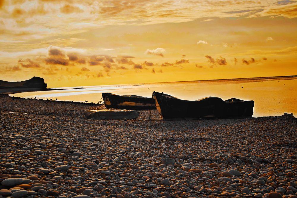 Photo in Sea and Sand #seaandsand #pebblebeach #inspiration #youpic #boat #sunrise #morning #landscape #beach