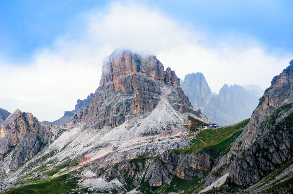 Photo in Landscape #beautiful #dolomites #mountains #italy #rocks #peak #clouds #alps #climbing #grass #range