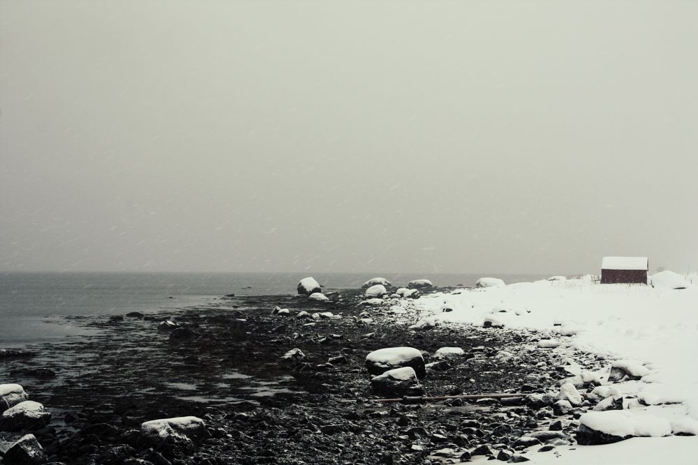 Photo in Landscape #tempête #storm #stormy #beach #palge #rochers #black #snow #winter #hiver #inverno #neige #neve #norvège #norway #north #travel #houses #alone #roadtrip
