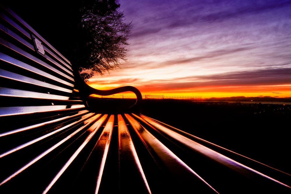 Photo in Fine Art #bench #seat #sunset #shine #scotland #hdr #long #exposure #edinburgh
