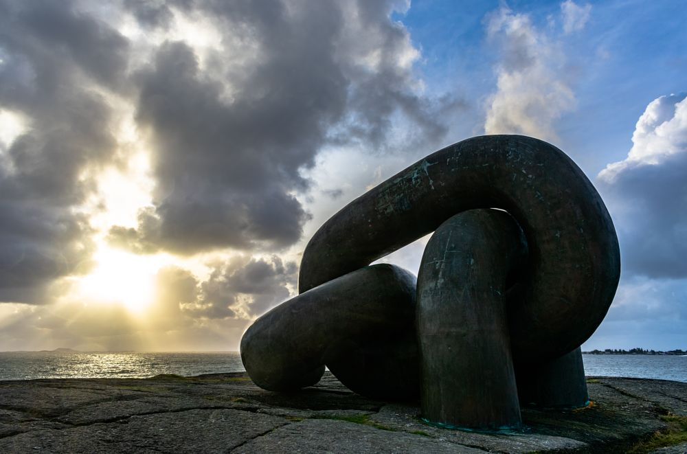 Photo in Nature #chains #monument #beach #mountain #rock #sunset #sky #clouds #blue #cloudy