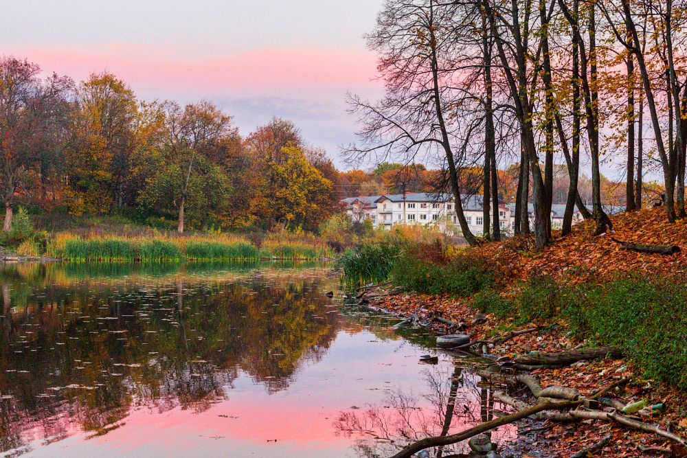 Photo in Nature #autumn #sunset #lake #sky