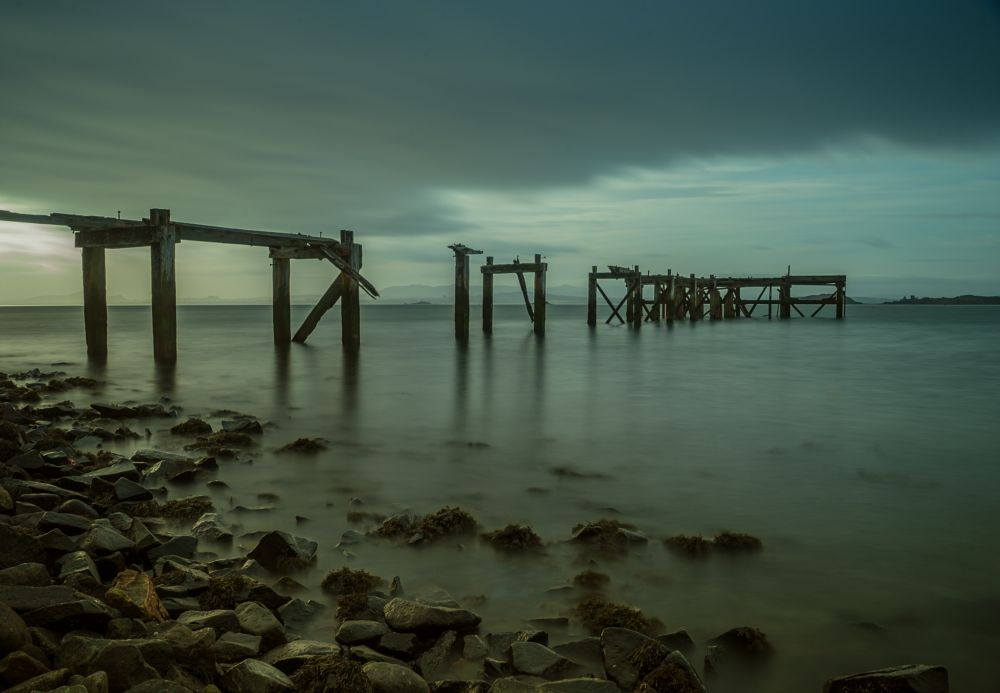 Photo in Sea and Sand #sea #pier #abandoned #long exposure #seascape #mirrorless #sony mirrorless #sunrise #early morning #firth of forth #aberdour #sony a7 #scotland #visit scotland #fife #wooden pier