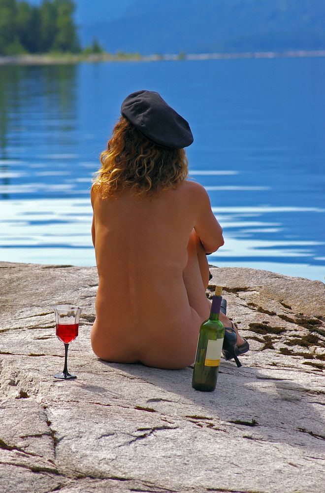 Photo in Nude #red wine #wine #bottle #glass #drinking #naked #nude #sexy #beach #amyrogers #amy rogers