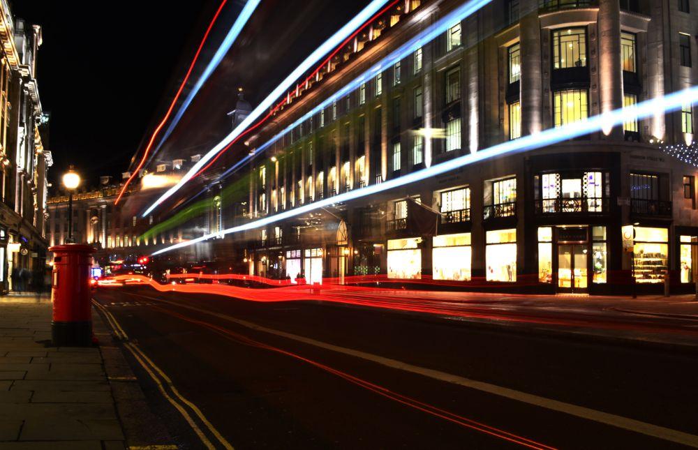 Photo in Cityscape #london #regent street #traffic trails #traffic #light trails #light painting #night #lights #beautiful #city