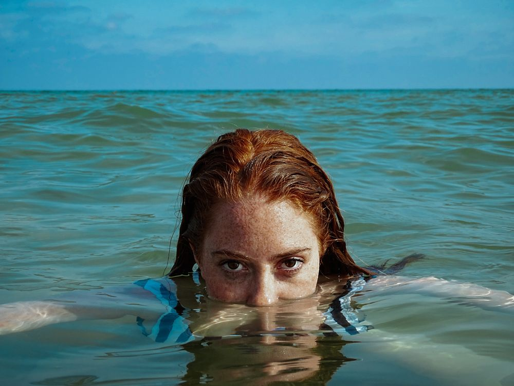 Photo in Sea and Sand #sea #freckles #redhead #blue #art #summer