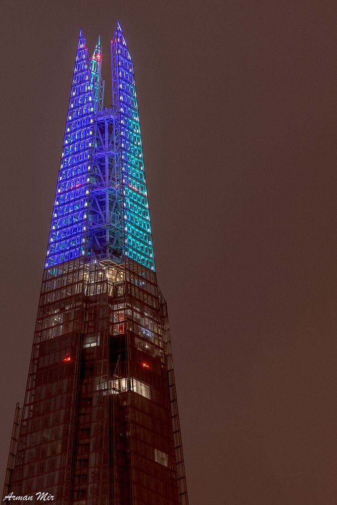 Photo in Architecture #the shard #shard #pyramid #light #christmas light #skyscraper #london #united kingdom #blue #purple #architecture