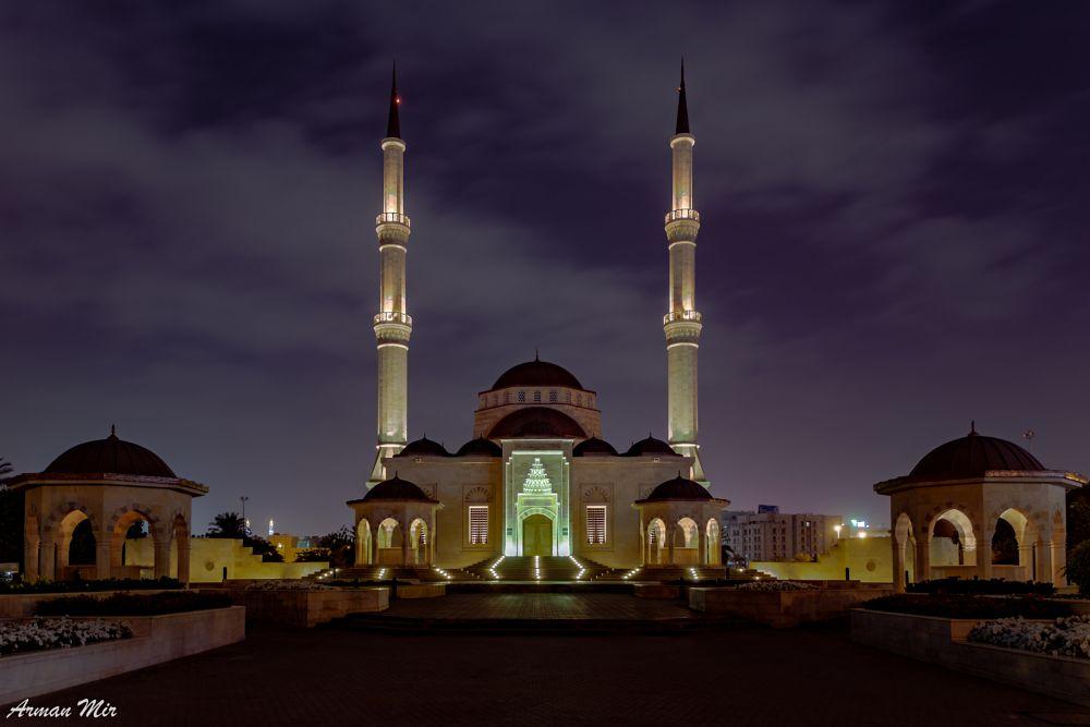 Photo in Travel #muscat #oman #omani #turkish #ottoman #mosque #night #night photography #street photography #travel #vacation #muslim #islamic #architecture #islam #faith