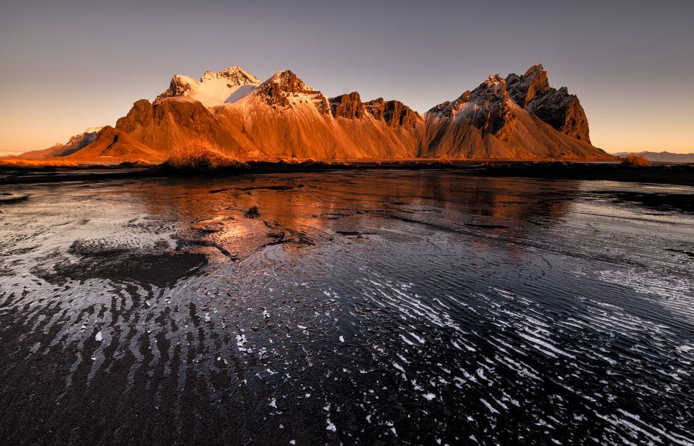 Photo in Landscape #vestrahorn #iceland #ice #texture #mountain #sun