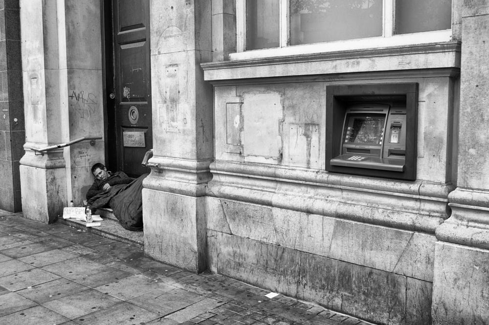 Photo in Black and White #cash machine #beggar #asleep #rough #homeless #streetcontest