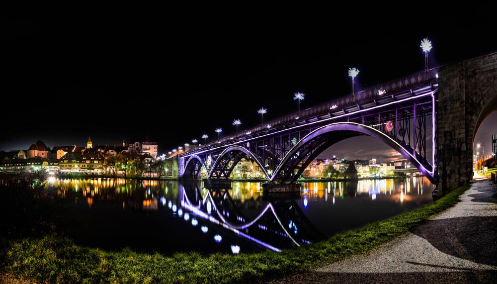 Photo in Cityscape #bridge #river #old #lights #amazing #view #panorama #shore #town #city