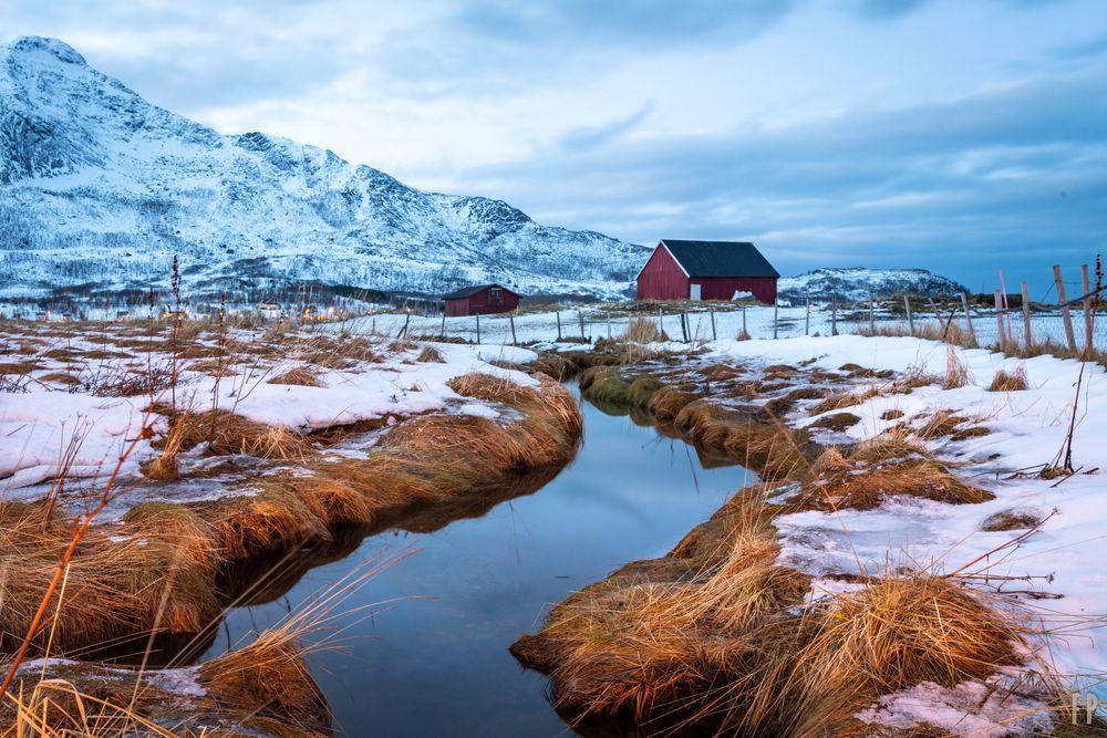 Photo in Random #norway #winter #snow #river #blue hour