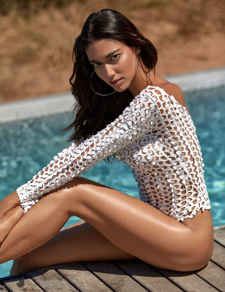 Photo in Portrait #portrait #female #model #beauty #swimwear #brunette #sensual #pool #outdoors #summer #water