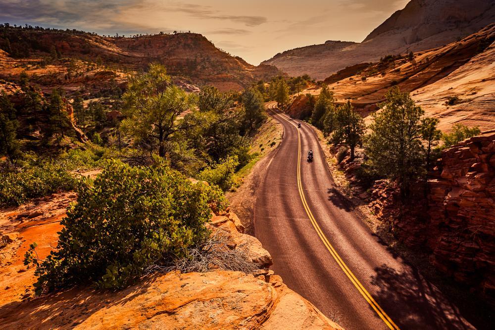 Photo in Landscape #road #bikers #bikes #motorcycle #orange #sunset
