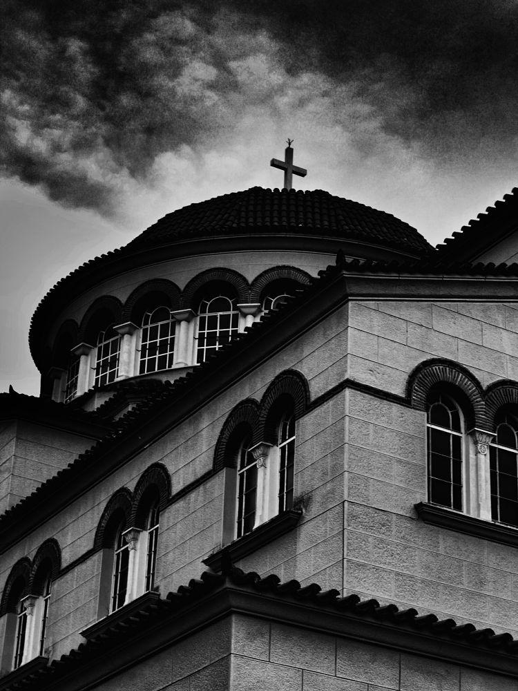 Photo in Architecture #bw #bnw #blackandwhite #black #and #white #monochrome #dark #shadows #mood #noir #city #town #street #urban #church #architecture #light