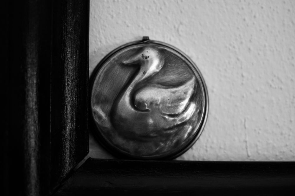 Photo in Black and White #metalls #duck #kitchen tools #frame #symbolic #moment