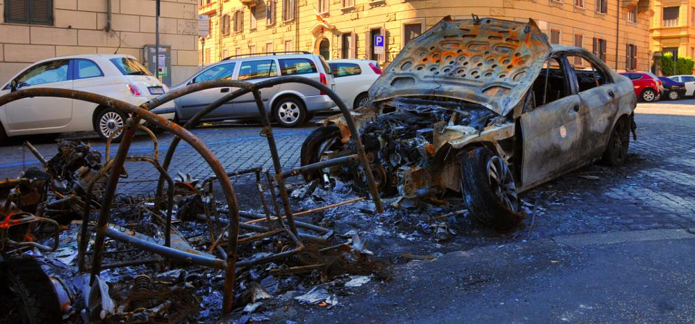 Photo in Vehicle #rome #burned #car #destroyed #city #fire #accident #crash