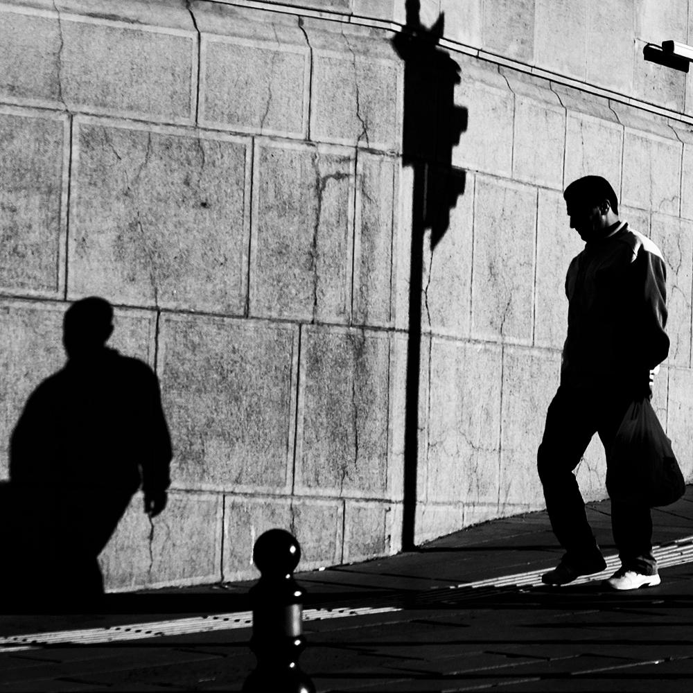 Photo in Black and White #street #people #shadow