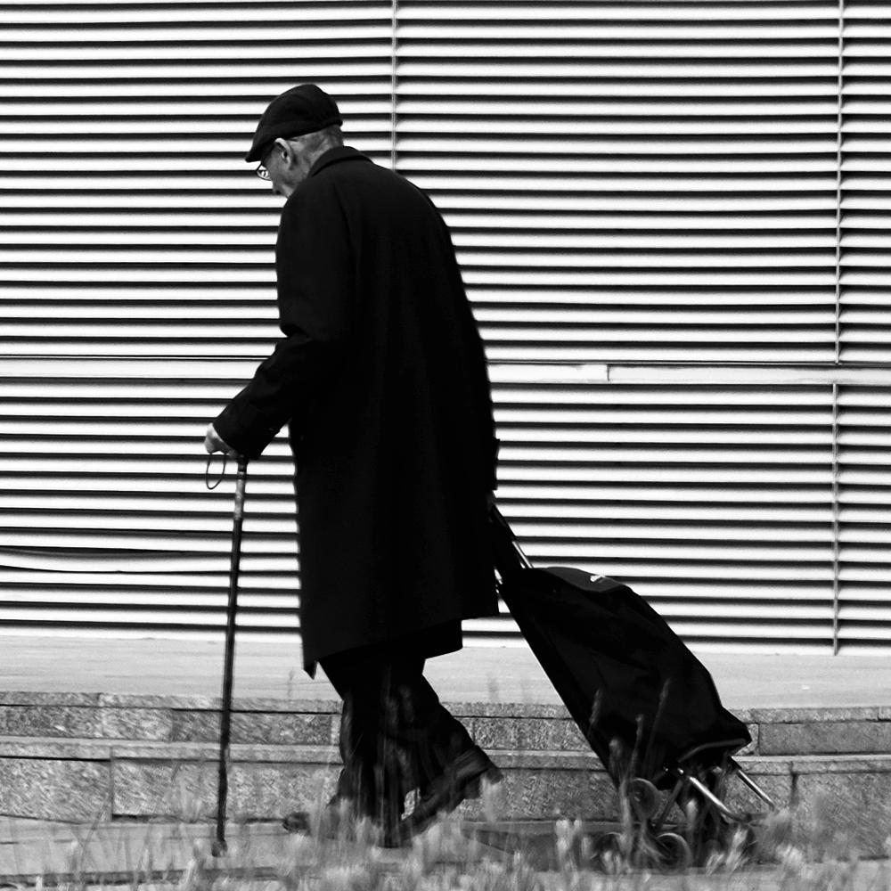 Photo in Black and White #street #old man #go