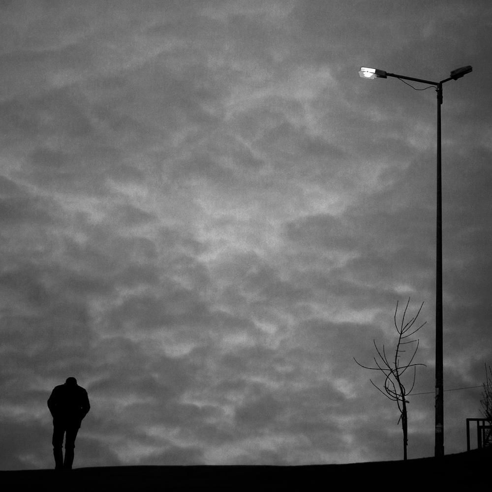 Photo in Black and White #street #people #human #morning #man #sad #tree