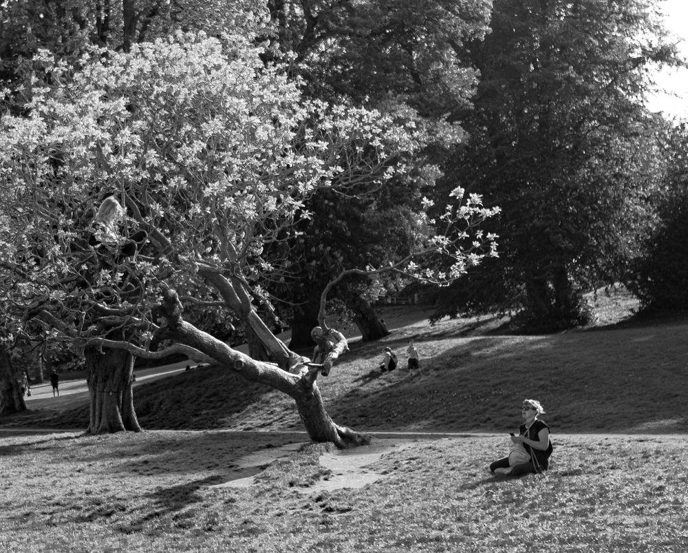 Photo in Black and White #black #white #park #nature #mum #daughter #females #family