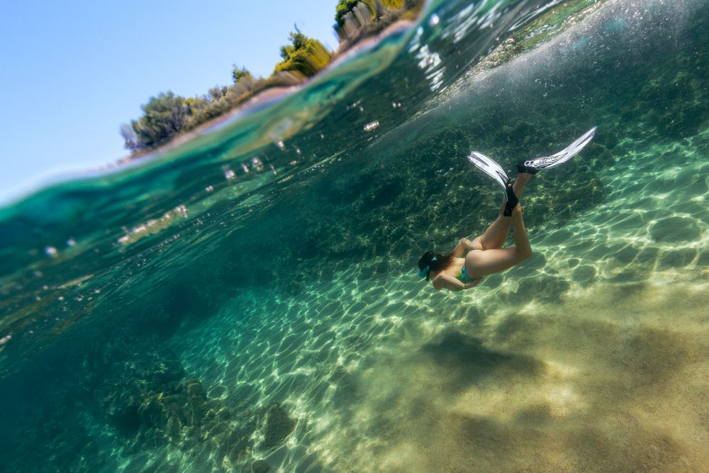 Photo in Underwater #water #underwater #crystal #clear #summer #sun #sunny #swimming #diving #free #snorkeling #seac #fins #zara #swimsuit #one #piece #swimwear #hot #sexy #woman #wife #girl #female #feminine #curves #curvy #round #tight #young #fit #model #fashion #beauty #beautiful #skin #bach #behind #butt #bum #ass #cheeks #thighs #legs #greece #sithonia