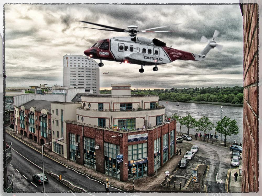 Photo in Urban #limerick #helicopter #heli #coasguard