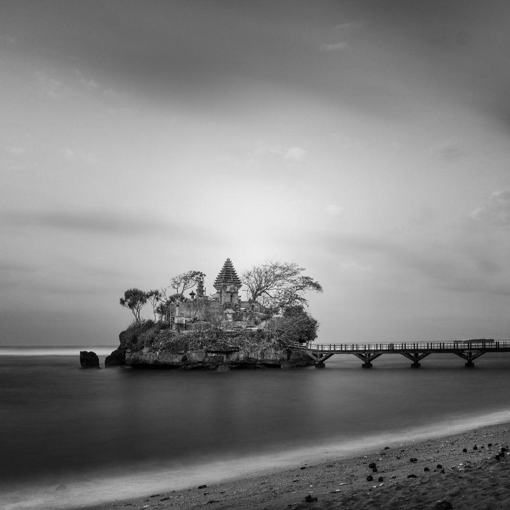 Photo in Black and White #black and white #temple #landscape #nature #fine art