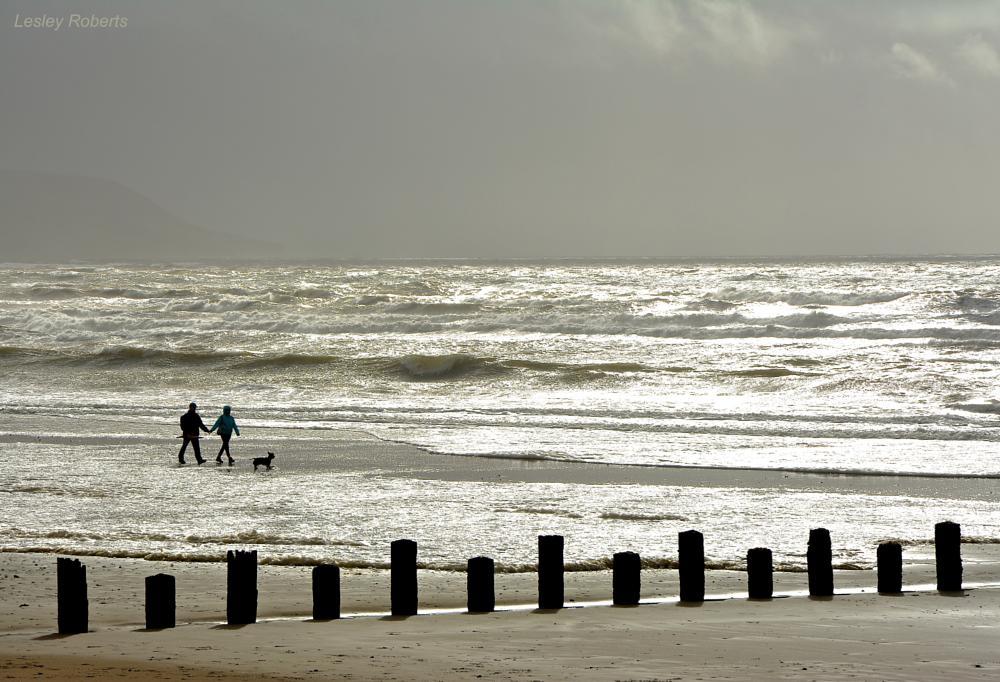 Photo in Sea and Sand #beach #silhouette #sea #sunlight #coastal #wales #lesley roberts #seascape