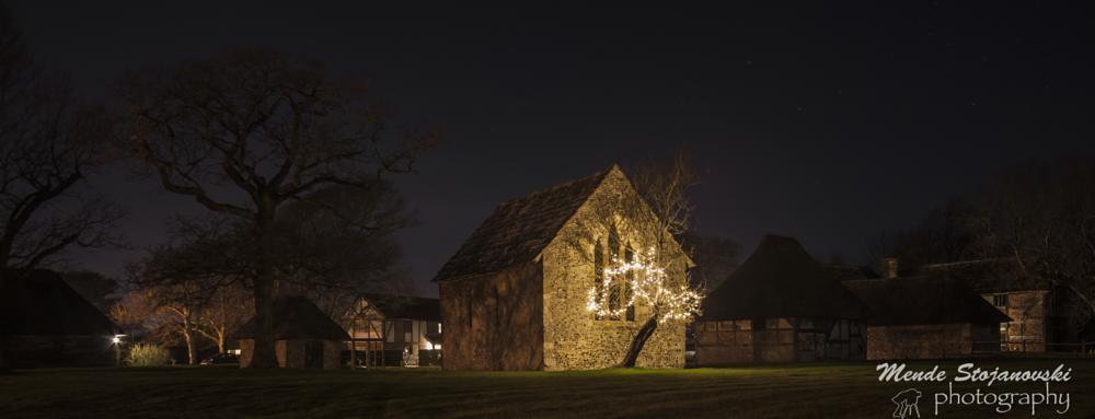 Photo in Landscape #tree #lights #barn #night #stars