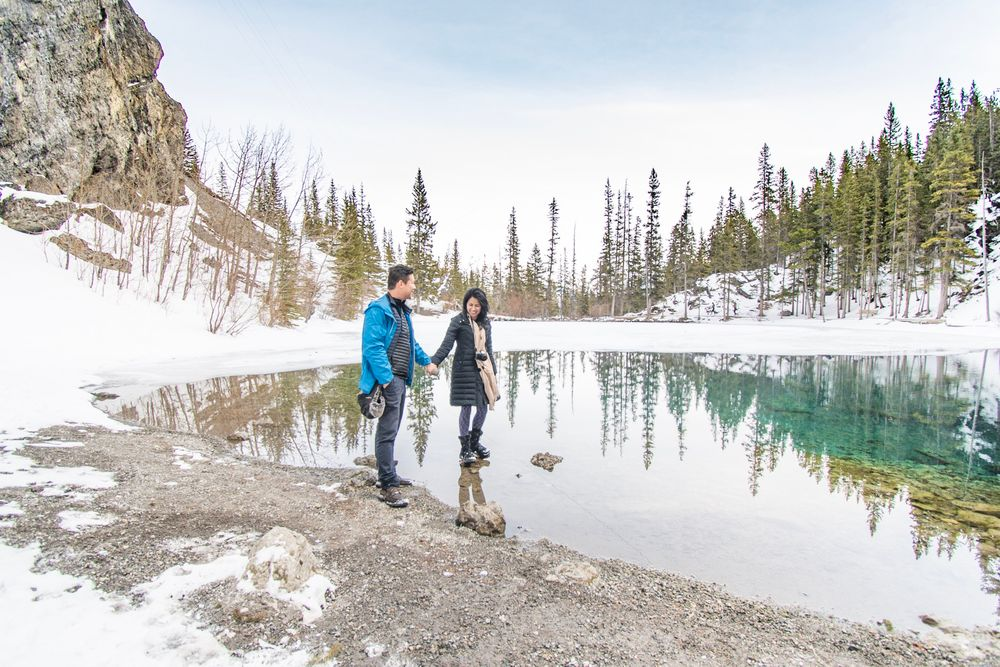 Photo in Nature with model Sathya Walisinghe #alberta #canmore #reflections #nature #landscape #winter #snow #couples #photoshoot #canada #outdoors