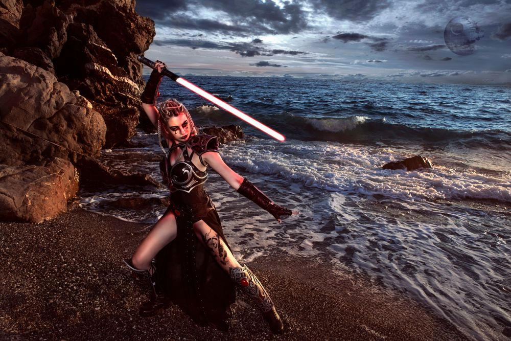 Photo in Fashion #red #model #sexy #female #gothic #outdoor #costume #cosplay #cosplayer #concept #fashion #fashion model #face #lightsaber #sword #armor craft #digital art #retouch #digital manipulation #tattoo #fantasy #eyes #makeup #sea #beach