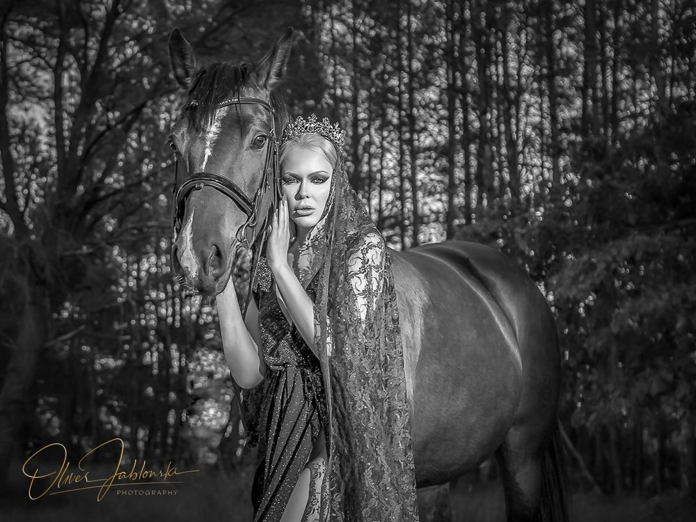 Photo in Black and White with model Olga Maria Veide #horse