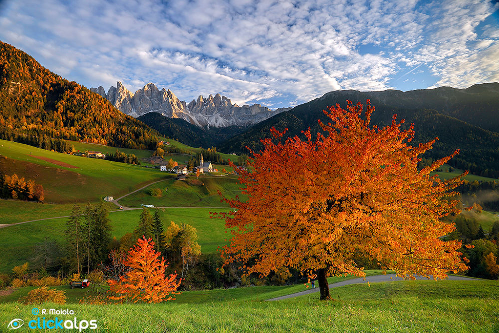Photo in Random #odle #colors #autumn #mountains #mountain #val di funes #dolomites #dolomiti #villnoess #church #santa magdalena #trees #clouds