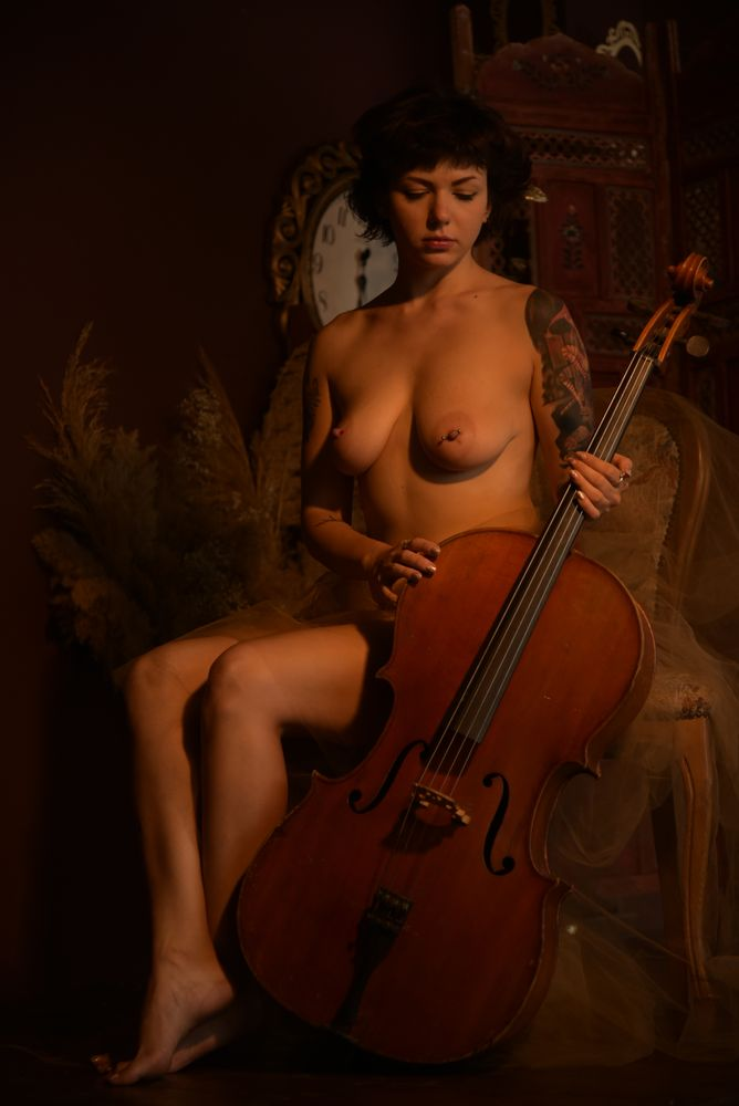 Photo in Nude with model Kate P #nude #naked #female #model #portrait #cello