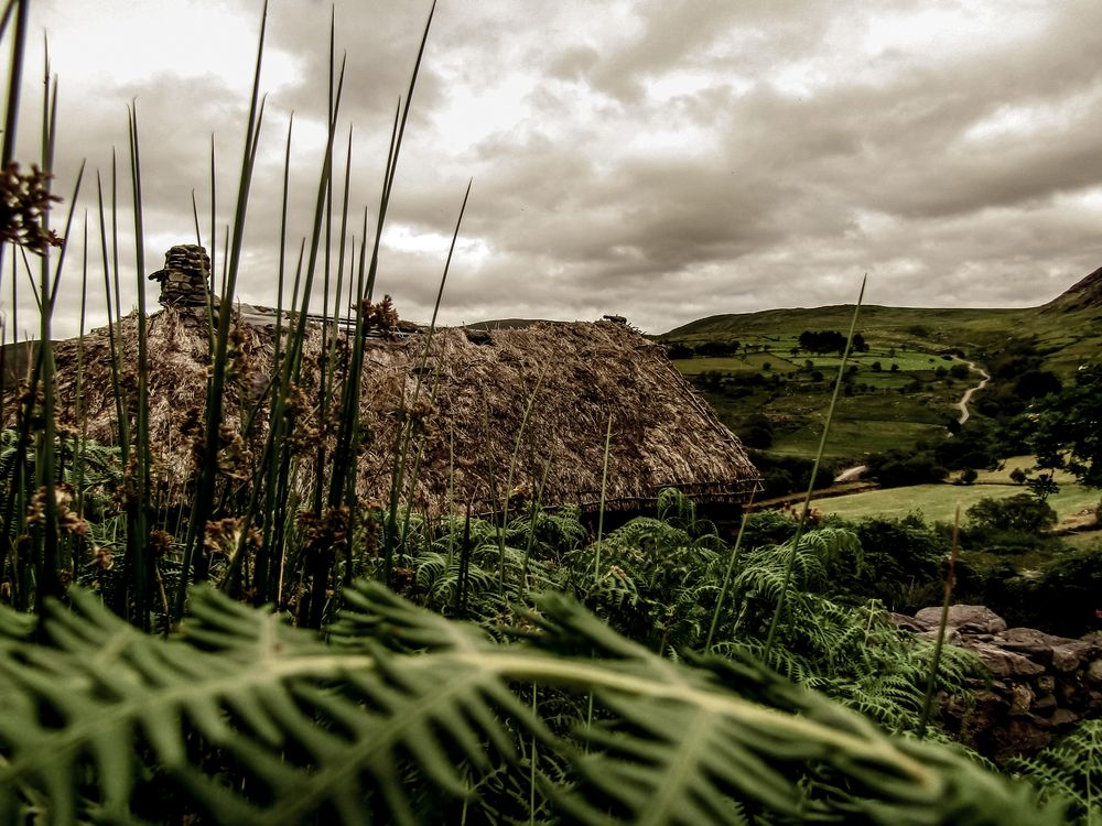 Photo in Landscape #landscape #cottage #old #summer #clouds #storms #moody #grass #ireland #mountains #views #fields #sky #sunset #sunrise #nature #old building #poor